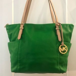 Authentic Michael Kors Green Leather Tote